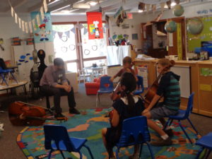 Wesley Skinner gives a cello master class.